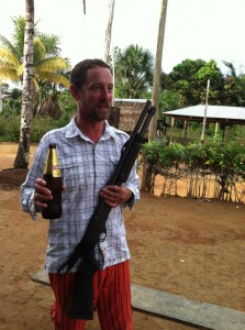 David keeping himself safe in the Red Zone (no one would mess with a dude drinking beer and wearing those pants)!