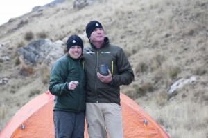 D and D camping in the highlands--yep, still cold up here!  This is just below the Upamayo dam