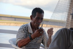 Don Mauro repairing the Perolita's fishing net.  The boys are getting a lot of fresh fish on this trip, way to eat locally!